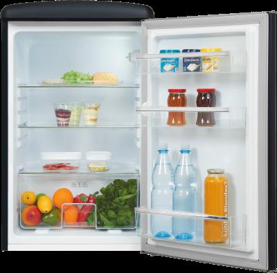 Exquisit Kühlschrank RKS120-V-H-160F, Cooler,Retro,schwarz