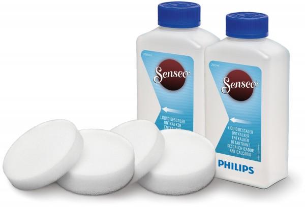 Philips CA6521 00 Senseo Flüssigentkalker-Set mit Doppelpack, Reiningungspad und Pflegeheft