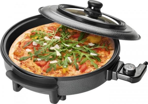 Clatronic PP 3402, Party- Pizzapfanne Ø 36 cm, zum Kochen, Braten und Dünsten, inkl. Glasdeckel, 150