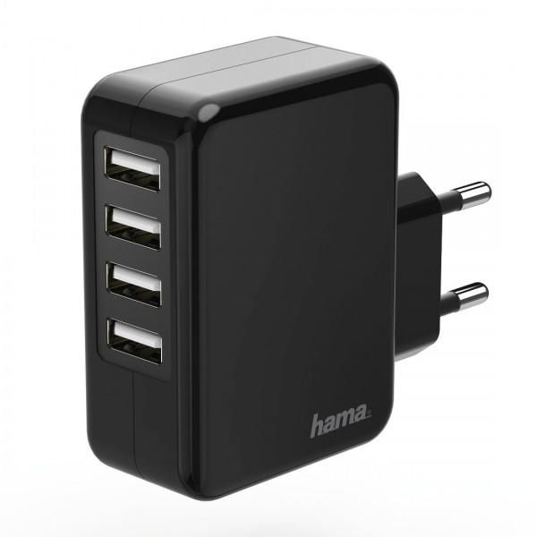 Hama Ladegerät 173676 4-fach USB 4.8 A schwarz