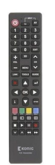 König TV--Universal-Fernbedienung KN-RCPA schwarz Ersatzfernbedienung Panasonic