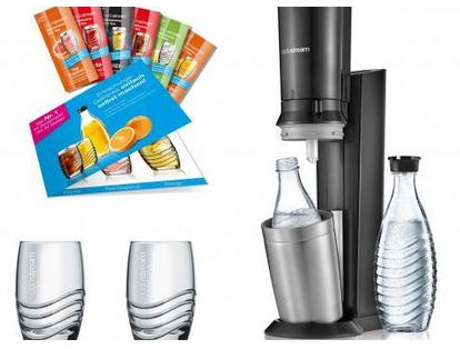Sodastream Trinkwasser-Sprudler, Promopack Crystal 2.0 titan, Sodastrea 1216512493, inkl. 2x Glaskar