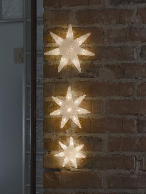 Konstsmide LED Lichtervorhang, 3 Acryl Sterne, 24_warm_weiße Dioden, 24